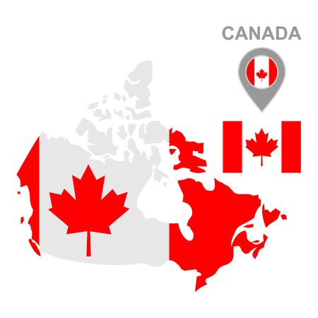Maps of Canada with national flags icon vector design symbol