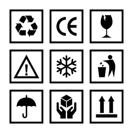 packaging product caution icon vector symbol