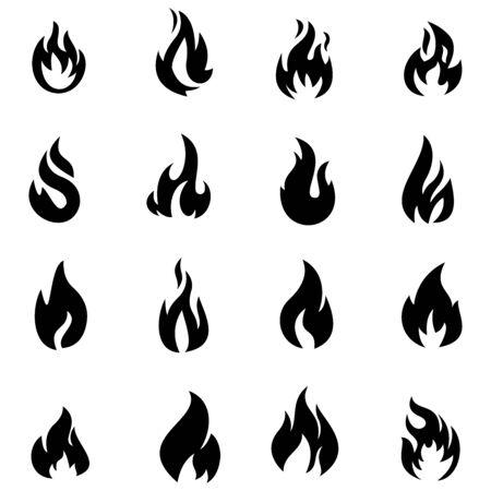 fuoco fiamma icona disegno vettoriale simbolo