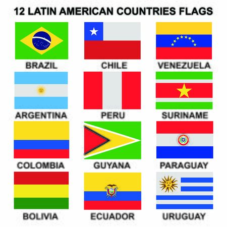 flags of country on the latin america icon vector design symbol