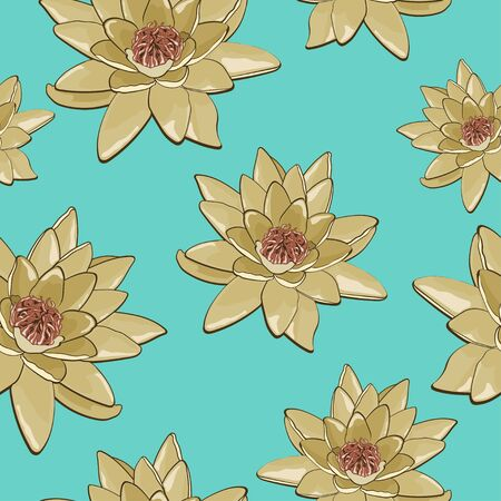 water plants: Seamless texture of flowers of water lilies on a blue background Illustration