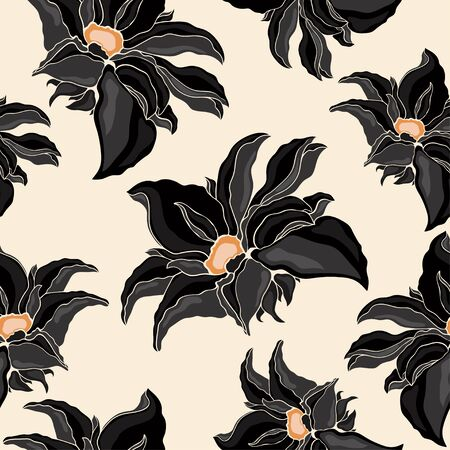 nenuphar: Seamless texture of flowers black. illustration