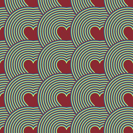 Seamless pattern of hearts. Optical illusion. Psychedelic Pattern. illustration