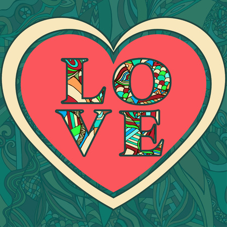contrasty: Valentines Day greeting card. Love letters from colored patterned letters patterned heart on a green background. illustration