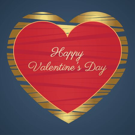 14 february: Happy Valentines Day Card 14 February. Hearts, Gold and red on a blue background. illustration