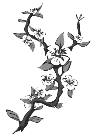 black branch: Abstract blossoming apple tree. Graphic branch of apple in black and white. Vector illustration