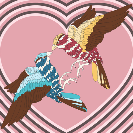 14 feb: Loving bird with colorful feathers on the background of hearts. Vintage, abstraction. Valentines Day Feb. 14. Vector illustration