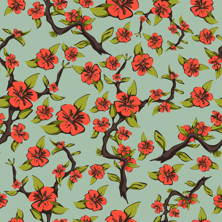 pale green: Seamless pattern of cherry blossoms. Abstract bright orange flowers on a branch with leaves on a pale green background. Vector illustration