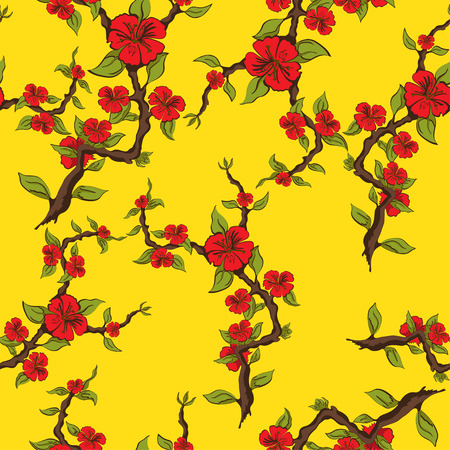 sprig: Seamless pattern of red flowers on a yellow background. Sprig of apple blossom. Vector illustration