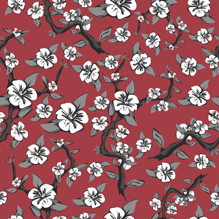 japanese garden: Seamless pattern of branches and white flowers on a pink background. Abstract blooming apple tree in black and white. Vector illustration