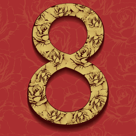 8 March International Womens Day, flower gold figure. The number of ornate gold floral patterns, on a coral background with ornaments. Greeting card. Decorative element for design, base, ornament