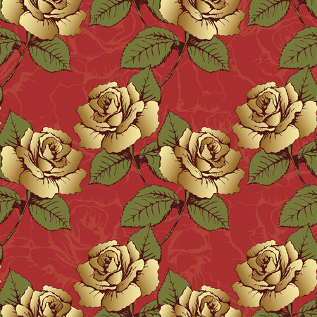 wrapper: Seamless pattern from gold flowers roses. Woven flowers, buds, leaves and stems on a scarlet background with flowery patterns. Wallpaper, wrapper, packaging, fabric design, decor element, decoration