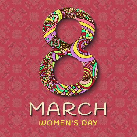 8 march: 8 March womens Day. Abstract Floral Greeting card, ornaments in the style of boho. Patterned letters on a pink background. Rear ethnic pattern. Colorful, bright, contrast composition, banner