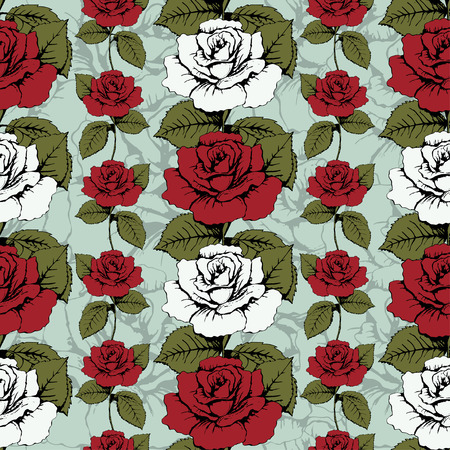 wrapper: Seamless pattern of flowers roses. Red and white roses Woven, ornate. Blue background with flowery patterns. Twisted buds, leaves, stems. Wallpaper, wrapper, fabric design, decor element, decoration