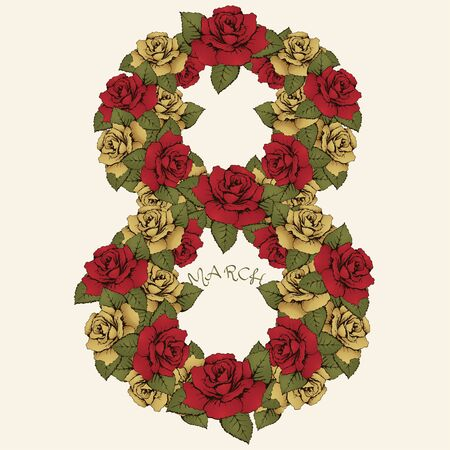 8 march: 8 March International Womens Day, flower figure. The number of red and yellow rosebuds and leaves. Ornate, floral, vegetable letter. Greeting card in vintage style. Decorative element for design