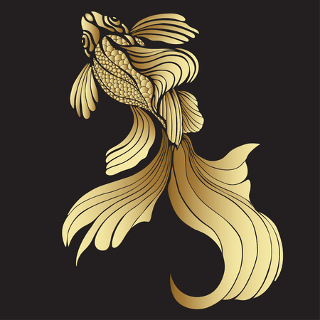 Gold fish, graphic. Decorative abstract fish, with golden scales, curled fins on black background. Jewel ornament. Rich, luxurious design element. Tattoo, print, decoration. illustration