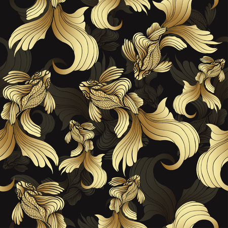 Gold fish, seamless pattern. Decorative abstract fish, with golden scales, curled fins on black background. Jewel ornament. Rich, luxurious design element. Wallpaper, fabric design, textile print