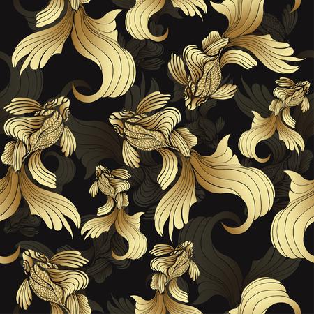 Złota ryba, bez szwu. Dekoracyjne streszczenie ryb ze złotych łusek, zakręcony płetwy na czarnym tle. Jewel dekoracyjnego. Rich, luksusowy element projektu. Tapeta, wzór tkaniny, tekstylia do druku