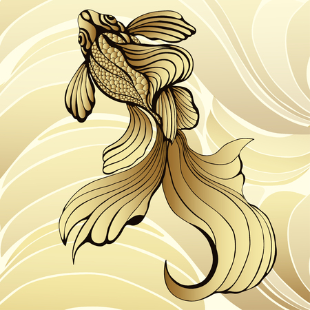 Gold fish, graphic. Decorative abstract fish, with golden scales, curled fins on a yellow background and gold waves. Jewel ornament. Rich, luxurious design element. Tattoo, print, decoration.