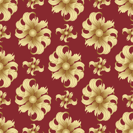 rich wallpaper: Abstract golden flowers, seamless pattern. Golden buds, curled petals on a red background. Jewel ornament. Rich, luxurious design element. Wallpaper, wrapper, fabric design, textile print, decoration