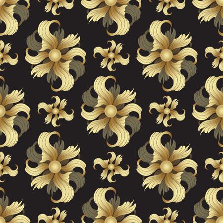 rich wallpaper: Abstract golden flowers, seamless pattern. Golden buds, curled petals on black background. Jewel ornament. Rich, luxurious design element. Wallpaper, wrapper, fabric design, textile print, decoration
