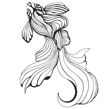 abstract fish: Abstract fish, sketch,graphic. Decorative element, tattoo, painting, print, black and white image. illustration