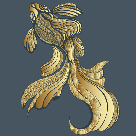 brooch: Abstract Gold fish, graphic, vintage. Decorative elegant fish, with golden scales, with a variety of gold ornaments. Jewel ornament. Jewelry, brooch. Rich, luxurious design element. Tattoo, print