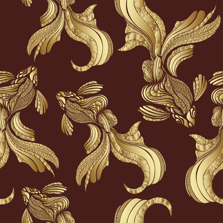 luxurious seamless wallpaper: Abstract Gold fish seamless pattern, vintage. Decorative elegant fish, with golden scales, with a variety of gold ornaments. Jewel ornament. Rich, luxurious design element. Wallpaper, fabric design Illustration