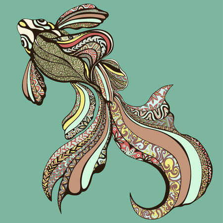 Abstract colorful fish. Decorative fish from a variety of different color patterns.a graphic. It can be used as tattoos, prints, jewelry designer. illustration Ilustração