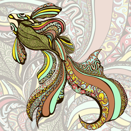 Abstract colorful fish. Decorative fish from a variety of color ornaments on a background of colorful patterns. a graphic. It can be used as tattoos, prints, jewelry designer