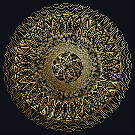 brooch: Mandala gold, Fine carv. Round Ornament Pattern. Vintage decorative elements. East pattern, Arabic, Indian. Can be used to fabric design, print, fretwork, brooch, a precious jewel. illustration