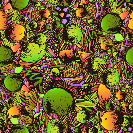 acid colors: Abstract doodle composition, seamless pattern of acid colors. Bright, multicolor ornament,from a variety of decorative elements, fantasy motif. It can be used as wallpaper, fabric design
