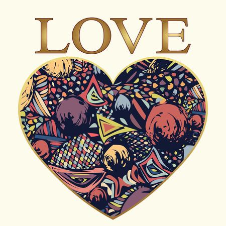 letras de oro: Amor, resumen ornamento en forma de corazón, tarjeta. del doodle multicolor con un marco de oro y letras de oro, a partir de una variedad de elementos decorativos. Se puede utilizar como una impresión, tatuaje