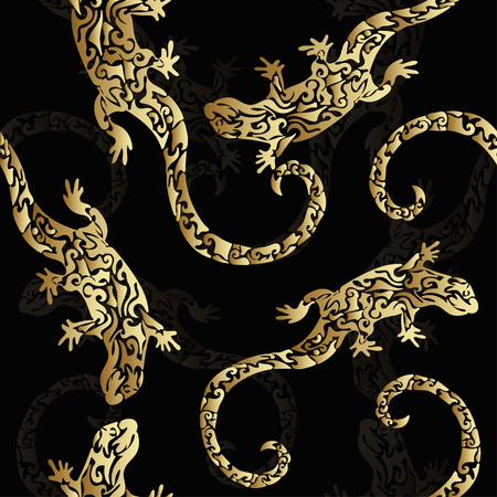 reptiles: Abstract golden curly figured lizards, seamless pattern, print. Reptiles of precious metal on a dark background. Illustration