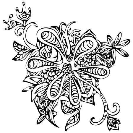 Abstrakte Blumen Nahtlose Muster. Doodle, Skizze. Schwarze Und Weiße ...