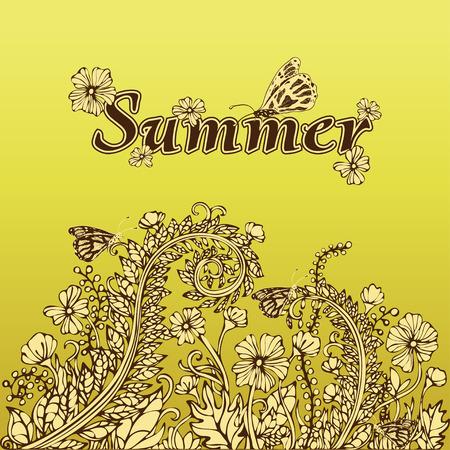 Sommer abstrakte Landschaft im Vintage-Stil, Hand-Zeichnung, Karte, Abdeckung. Beige gelbe Blumen auf einem gelben Hintergrund. Blumenverzierung im Stil von Boho Chic, Hippie. Natürliche Pflanzenblumenmotiv Vektorgrafik