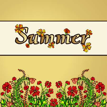 contrast floral: Summer abstract landscape in the style of boho chic, hippie, card, cover. Red flowers on a gold background. Bright, juicy, contrast, warm floral composition. Ornament from natural plant flower motifs