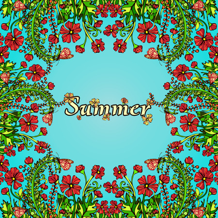 contrast floral: Flower frame, border, card, summer ornament in the style of boho chic, hippie. Abstract red flowers on a blue background. Bright, juicy, high contrast, warm floral composition. Natural plant motif Illustration
