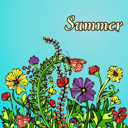 contrast floral: Summer landscape in the style boho chic, hippie, card, cover. Abstract multicolored flowers on a blue background. Bright, contrast, warm floral composition. Ornament from natural plant flower motifs