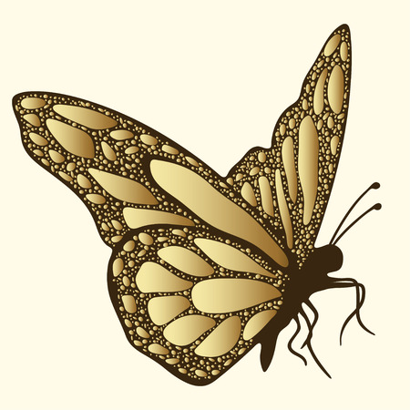 brooch: Golden butterfly. Luxury design, expensive jewelry, brooch. Exotic patterned Insect, tattoo, decorative element. Vector illustration