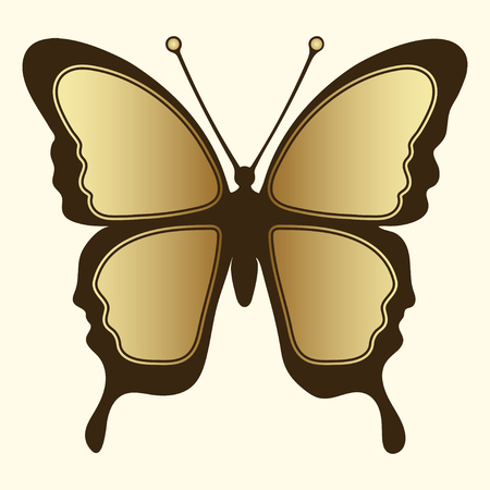Golden butterfly. Luxury design, expensive jewelry, brooch. Exotic patterned Insect, tattoo, decorative element. Vector illustration