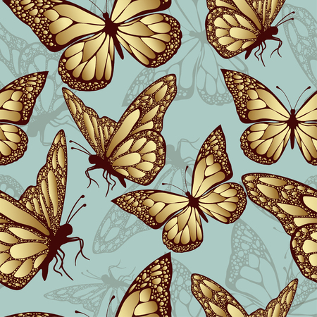 jewelry background: Golden butterfly seamless pattern. Luxury design, expensive jewelry. Exotic patterned Insect. Golden and translucent wings on blue background. Textiles, fabric design, wallpaper, vector background