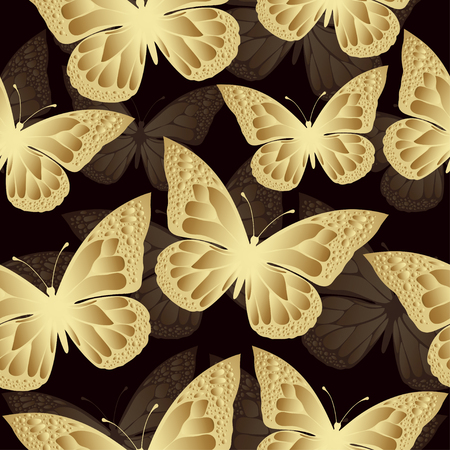 is expensive: Golden butterfly seamless pattern. Luxury design, expensive jewelry. Exotic patterned Insect. Golden and translucent wings on burgundy background. Textiles, fabric design, wallpaper, vector background Illustration