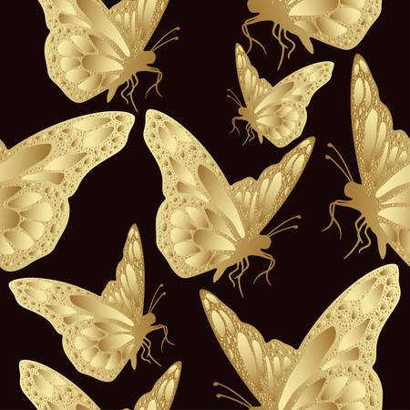 burgundy background: Golden butterfly seamless pattern. Luxury design, expensive jewelry. Exotic patterned Insect. Golden openwork wings of butterflies on burgundy background. Textiles, fabric design, wallpaper, vector
