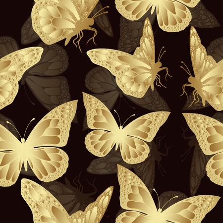 openwork: Golden butterfly seamless pattern. Luxury design, expensive jewelry. Exotic patterned Insect. Golden and translucent openwork wings on burgundy background. Textiles, fabric design, wallpaper, vector