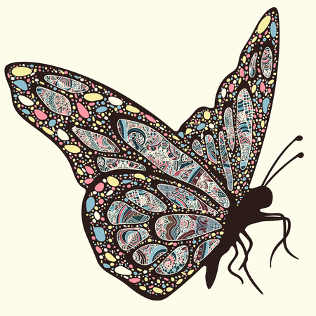 Butterfly with patterns. Wings with multicolored oriental ornaments in style boho, ethnic design, hippie style, arabesque, bohemian. Embroidered openwork exotic Insect. Hand drawing vector graphic