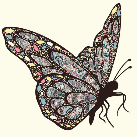 Vlinder met patronen. Vleugels met veelkleurige oosterse versieringen in stijl boho, etnisch ontwerp, hippie stijl, arabesk, bohemien. Geborduurde opengewerkte exotisch insect. Hand tekening vector graphic Stock Illustratie