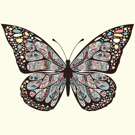 openwork: Butterfly with patterns. Wings with multicolored oriental ornaments in style boho, ethnic design, hippie style, arabesque, bohemian. Embroidered openwork exotic Insect. Hand drawing vector graphic