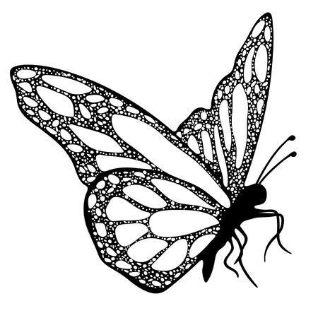 蝶、モノクロ、塗り絵、黒と白のイラスト手描きタトゥー スケッチ。エキゾチックなパターン化された昆虫、装飾的な要素を印刷します。ベクトル  イラスト・ベクター素材