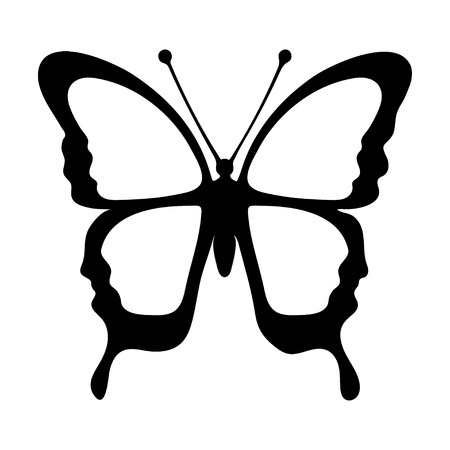element: Butterfly, monochrome, coloring book, black and white illustration, hand-drawing, tattoo sketch. Exotic patterned Insect, decorative element, print. Vector illustration